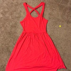 Cross open back dress
